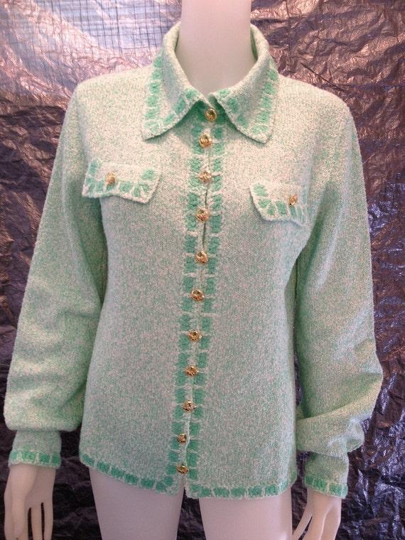 Vintage St. John Sea Foam Green 70's Sweater Jacket  L
