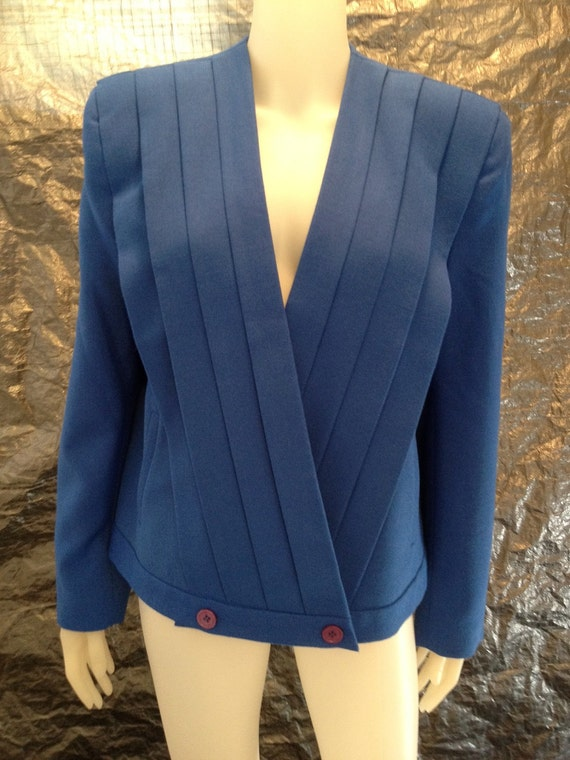 Vintage Structured Blue Pleated 80's Jacket  M/L