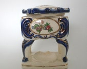 Vintage Japanese Porcelain Trinket Box Lid Hand Painted