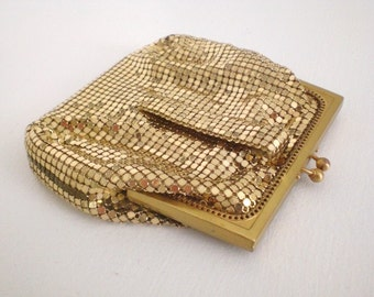 Vintage Gold Mesh Purse Bag Clutch Whiting Davis Mirror Mid Century Accessories