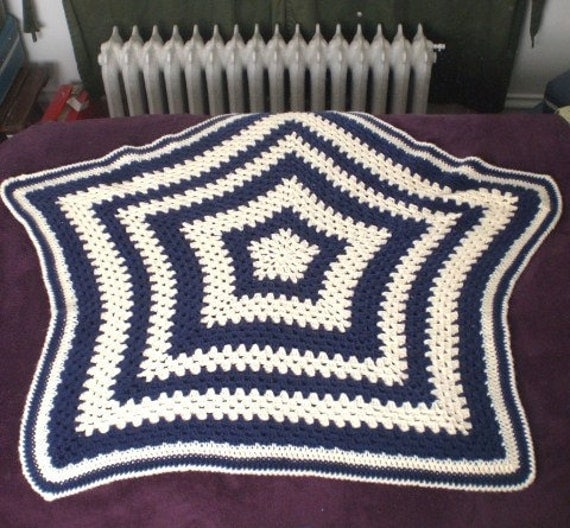 Star Afghan Baby Blanket Blue and Cream Crochet