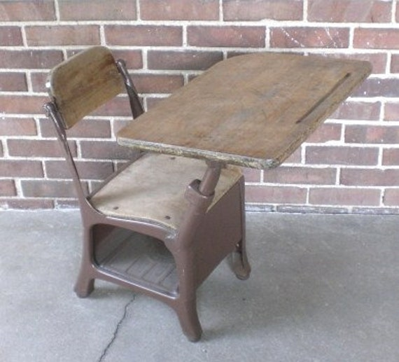 Vintage Child S School Desk And Chair Wood Metal Mid