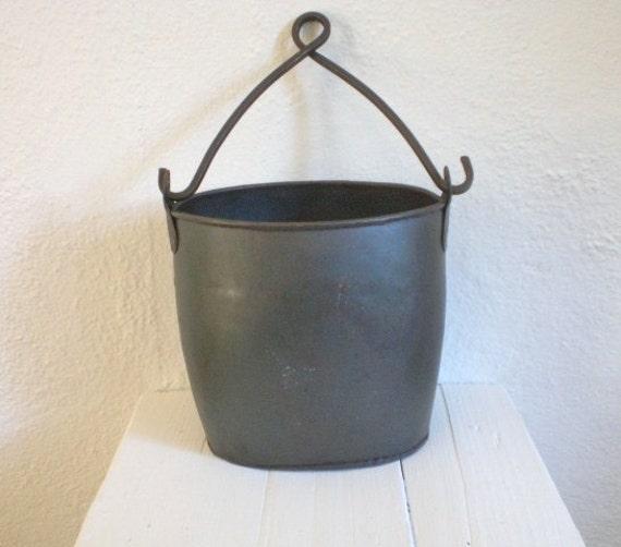 Vintage black metal mining bucket industrial for Old metal buckets