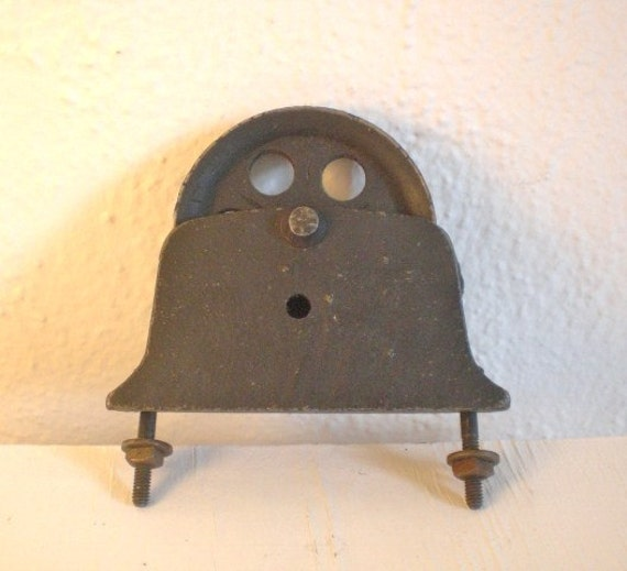 Vintage Cast Iron Pulley Black Industrial