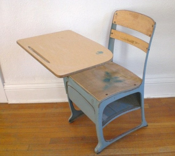 Vintage Child's School Desk And Chair Wood Metal Mid. Hand Painted Desk. Replacement Drawer. Soft Close Drawer Glides. Customizable Drawer Dividers. Drawer Unit For Desk. Stainless Steel Tables. Elegant Coffee Table. Blue Desk Accessories