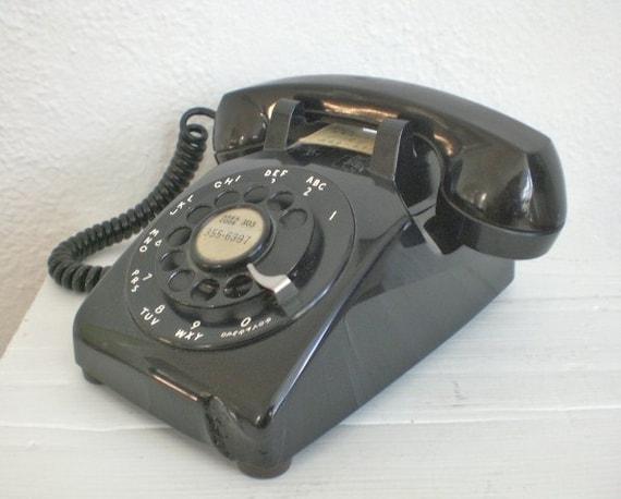 Vintage Black Rotary Phone 1950's Original Cord