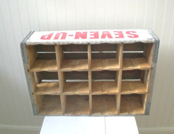 Vintage 7up Crate Wood Divided Red White