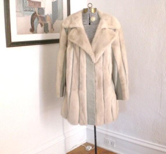 Vintage Mink Leather Jacket Coat Silk 1960s