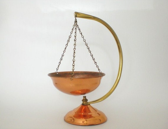 Vintage Hanging Copper Incense Burner Planter Bowl Stand
