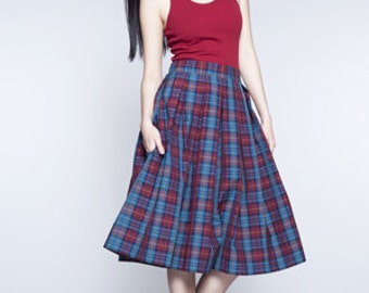 Plaid midi skirt High waisted skirt Midi skirt Plaid cotton skirt Skirt with pockets Made to order skirt XS S M L XL and plus size