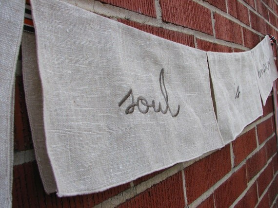 the soul is analog -- flag garland from vintage embroidered linens -- one of a kind original