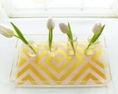 Lucite Serving Tray - Large - Diamond Stripe Blush/Gold