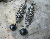 Silver and Grey Pearl Earrings