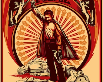 """Brent Cheshire's Lando Rising 18"""" x 24"""" screenprint. Limited to 100 signed and numbered"""
