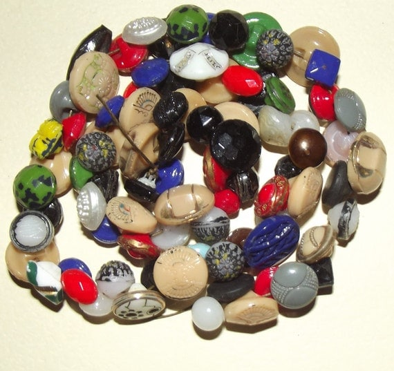 Antique and Vintage small glass buttons charm string