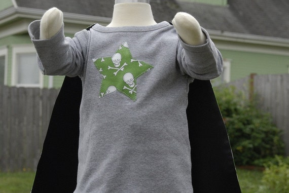 Green Skull and Crossbones Cape with grey appliqued organic tee shirt
