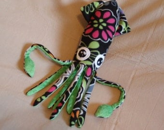 Made to Order Florentina the Black Floral Fleece Squid - Plush Stuffed Animal