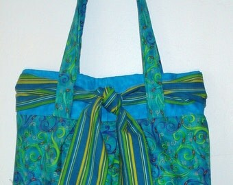Handcrafted Purse With Caribbean Colors And A Sash Tie