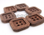 10pcs 4-Holes Retro Design Square Wooden Buttons 15 x 15 mm A00104X010