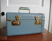 Vintage Baby Blue Train Case with  White Threading and Textured Body Full Mirror Resin Handle