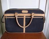 Vintage London Fog Suitcase Carry On Luggage Black Canvas Tan Leather Details Excellent