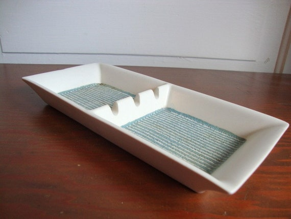 Vintage Hyalyn Ashtray Mid Century Modern Atomic Unique Porcelain with Aqua Lines