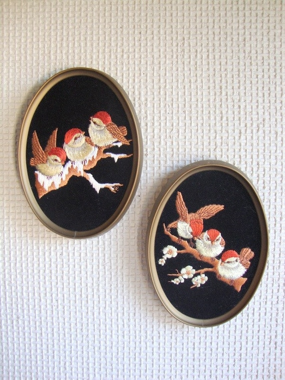 Reserved for Sarahjokim81 Cute Little Fancy Birds Embroidered Velvet Wall Hanging Pair