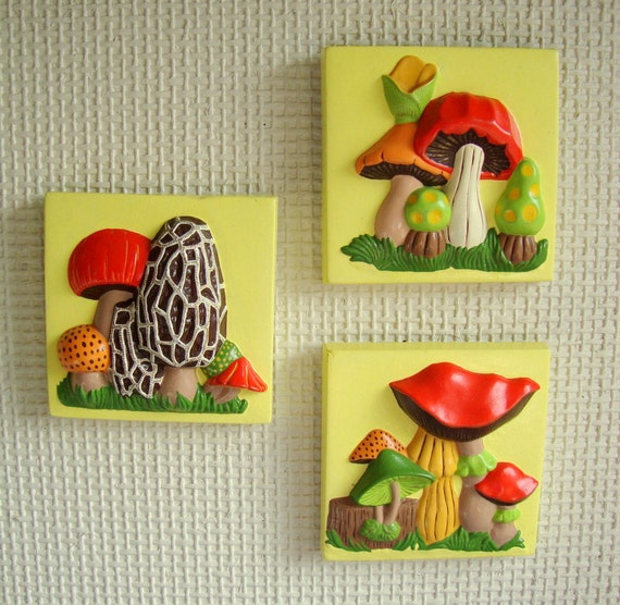 Colorful Kitchen Wall Art: Items Similar To Cute Vintage 70s Mushroom Wall Plaque Set