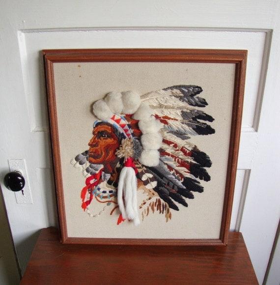 Vintage Native American Chief Crewel Needlework Beautiful Southwestern Design