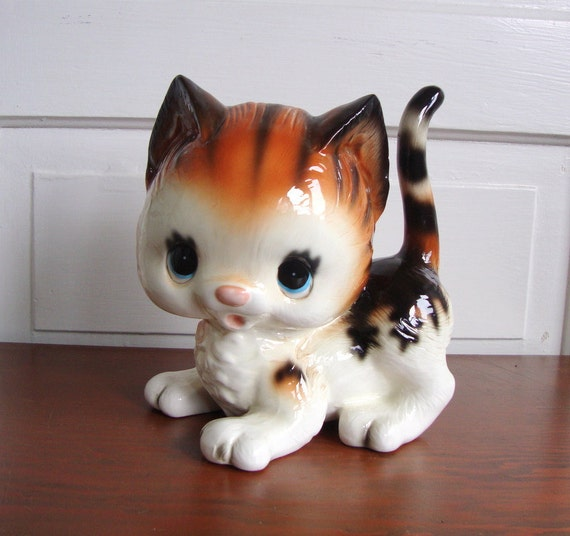 Reserved Cute Vintage Kitty Cat Piggy Bank By Quitefrankie