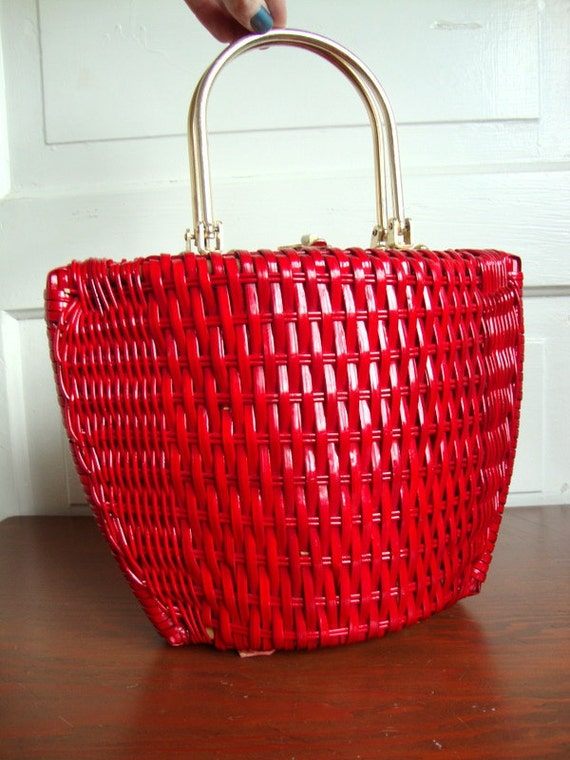 Vintage Candy Apple Plastic Wicker Handbag Super 60s Incredible Rockabilly High Fashion