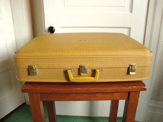 Vintage Mustard Yellow Suitcase Hardshell Body Faux Tweed Print Large Super 60s Retro Mod