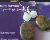 Unakite, Serpentine and Sterling Silver earrings