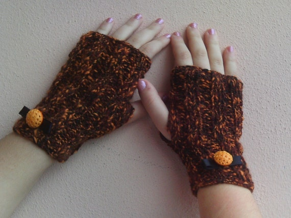 Halloween Knitted wrist warmers black and orange-ooak