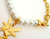 Pearl Bracelet - Gold Fairy Charm - Wedding Jewelry - June Birthstone Jewellery B-85