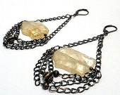 Citrine and Brass Chandelier Earrings