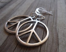 Peace Sign Earrings - Peace Sign Jewelry - Silver Jewelry - Everyday Jewellery - Dangle - Pierced - Symbol - Round
