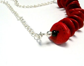 Red and Black Turquoise Necklace - Gemstone Jewellery - Silver Chain Jewelry - Bead Bar