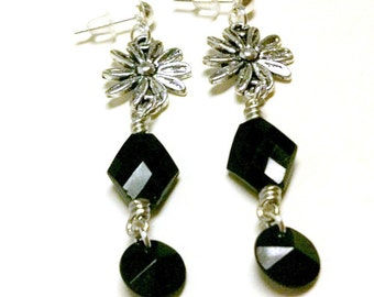 Black Earrings - Silver Flower Jewellery - Bridesmaid Jewelry - Wedding - Fashion