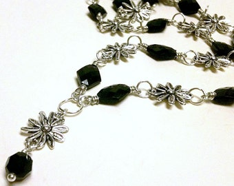 Black Necklace - Silver Jewelry - Flower Jewellery - Pendant - Unique - Fashion