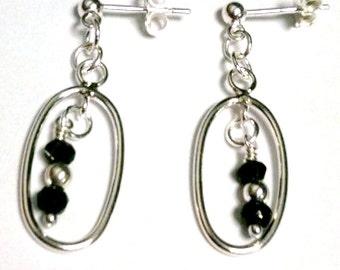 Black Spinel Earrings - Sterling Silver Jewelry - Gemstone Jewellery - Fashion - Trendy ER-81