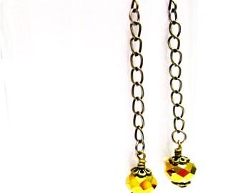 Gold Earrings - Metallic Jewelry - Crystal Jewellery - Brass Chain - Fashion