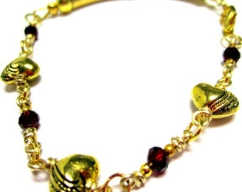 Gold Bracelet - Valentine Jewelry - Gold Jewellery - Red Crystals - Love - Fashion