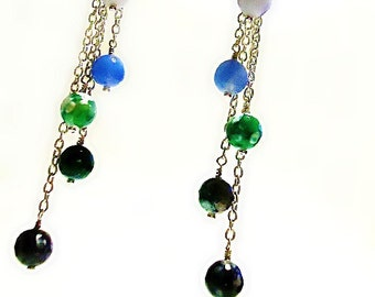 Chain Earrings - Silver Jewelry - Blue Green Glass Bead Jewellery - Dangle - Handmade - Crafts ER-74
