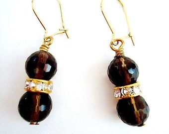 Smoky Topaz Earrings - Brown Jewellery - Gold Jewelry - Crystals - Luxe