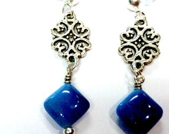 Blue Earrings - Silver Filigree Jewelry - Agate Gemstone Jewellery - Fashion - Everyday