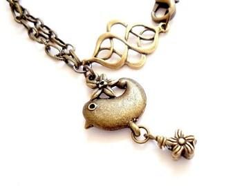 Brass Chain Bracelet - Bridesmaid Jewelry - Bird Flower Charm Jewellery - Everyday - Unique