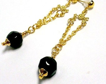 Black Earrings - Chandelier Jewellery - Gold Jewelry -  Fashion - Gift - Wedding - Bridesmaid - Flower