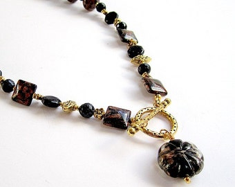 Navy Blue and Brown Necklace - Gold Jewelry - Goldstone Gemstone Jewellery - Pendant - Beaded - Fashion - Unique  N-50