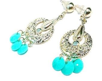 Turquoise Earrings - Turquoise Jewelry - Silver Jewelry - Chandelier Jewellery - Dangle - Pierced - Fashion